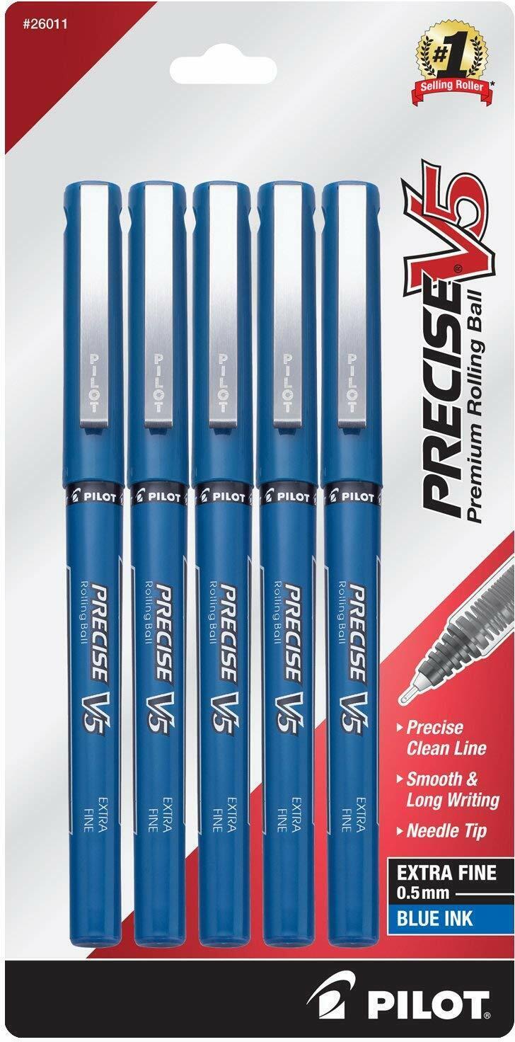 5 – PILOT Precise V5 – Extra-Fine Rollerball Pen – BLUE INK – Sealed Packs Ballpoint & Rollerball Pens