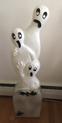"""RARE Vintage 40"""" 3 Ghost Tombstone Don Featherstone Happy Halloween Blow Mold"""