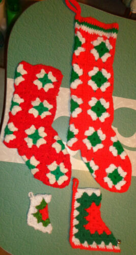 Vintage Lot of 4 Handmade Crocheted Christmas Stocking Boots Granny Square