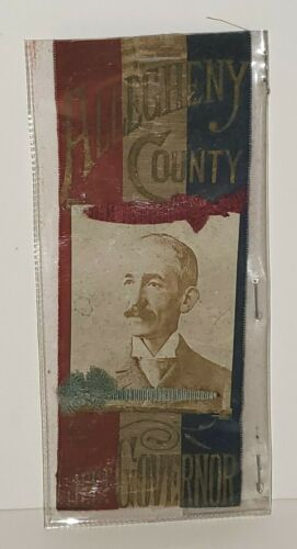 VINTAGE PENNSYLVANIA CAMPAIGN RIBBON 1894 LIEUT GOVERNOR MILTON WALTER LYON