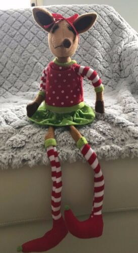 """Raz Imports Posable Christmas Deer ~ Roughly 18"""" ~ Red/Green/White ~ Rare"""