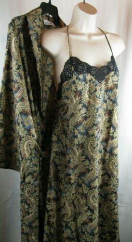 Monika Tilley Vassarette Vintage Nightgown Cover Up Set  Paisley Sm/Med