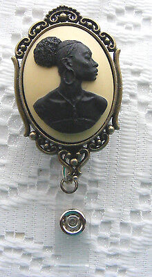 African American Heritage Ethnic Sorority Cameo Name Tag ID Badge Holder Lanyard