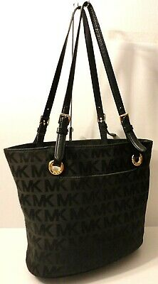 Michael Kors MK Print Black Leather Trim Tote Shopper Office Shoulder Bag Purse
