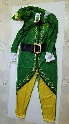 Mens Elf Christmas Green Union Suit 1 Piece Hooded Polyester Pajamas Size M - Mens Elf Pajamas