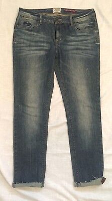 Women Super dry Vintage Standard Skinny Jeans Blue 32W 29L Factory Distressed