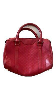 Gucci Red Vintage Doctor's Handbag Medium Monogram Speedy Bag Rare 80's Purse