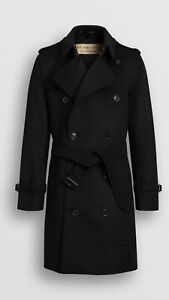 Burberry black cashmere wool trench coat