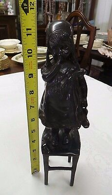 ANTIQUE REPRODUCTION BRONZE METAL GIRL WITH SHOE ART NOUVEAU BY JUAN CLARA