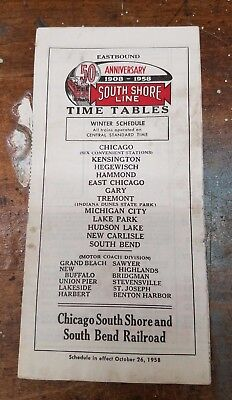 October 26, 1958 SOUTH SHORE LINE Railroad Timetable Passenger Schedules Winter