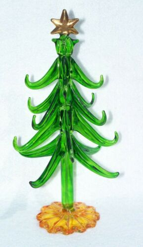 SPUN GLASS TWO TONE CHRISTMAS TREE DECORATION ORNAMENT B5
