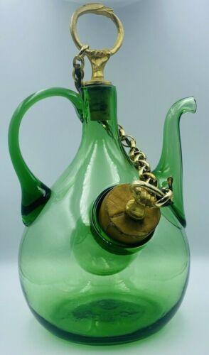 Vintage Glass Wine Bottle Decanter w/ Corked Ice Chamber-Hand Blown- Vera Gorini