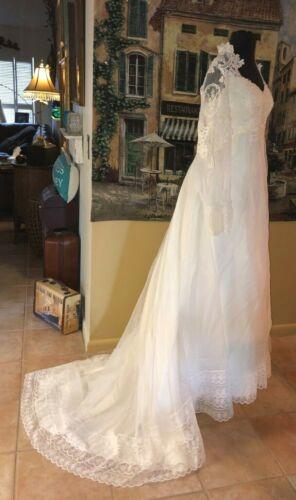 70s Vintage Wedding Bridal Gown White   Off White Battenburg Trim  Long Train 8