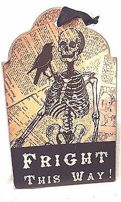 Skeleton Raven Halloween Wood Plaque Retro 6