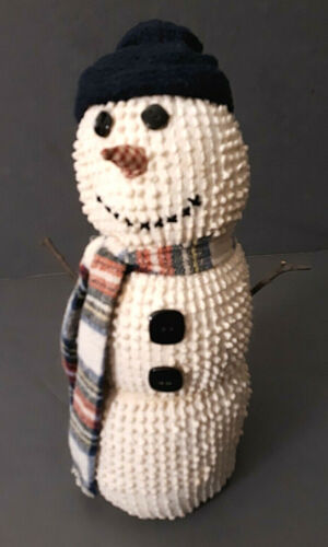 """Primitive Chenille Snowman Doll Country Farmhouse Rustic Holiday Standing 13"""""""