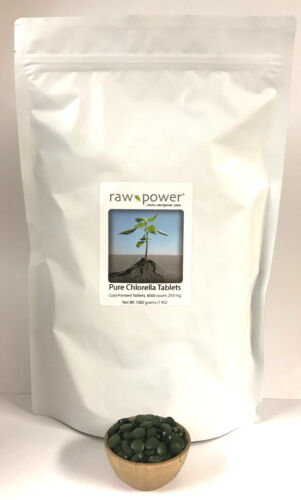 Chlorella tablets (pure) 4000-count, Kilo Bag, cold-pressed 100% raw, 1000 grams