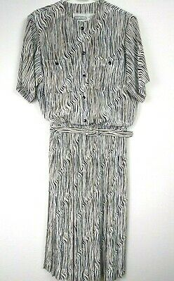 70 And 80 Clothes (Vintage 70s/80s White Black and Tan with pockets on Front Dress sz)