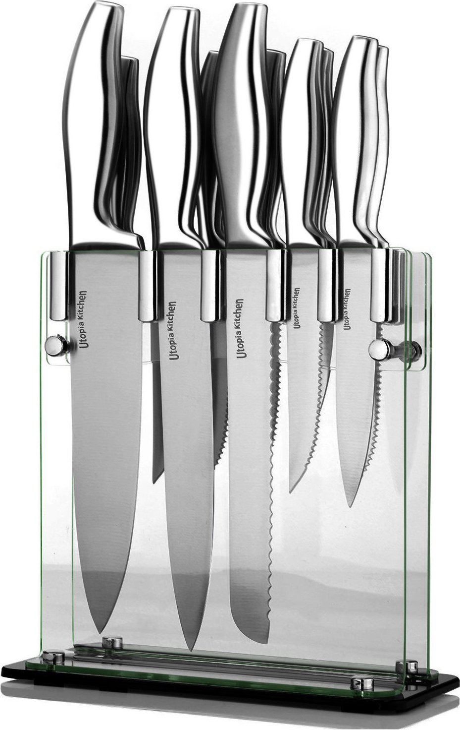 Utopia Kitchen Uk0190 Knife Set With Acrylic Stand 12 Piece For