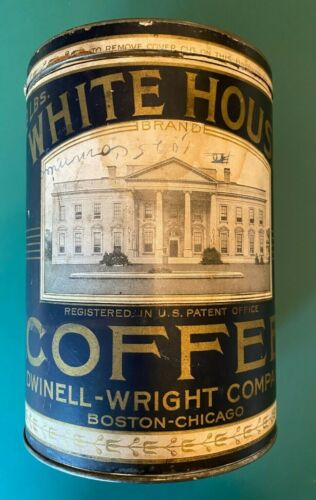 VINTAGE WHITE HOUSE COFFEE TIN with lid & paper label. Boston, 2#, Early 1900s.