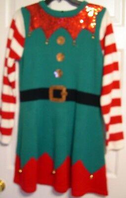 Lady Elf Costumes (Elf Ladies Holiday Sweater Dress Costume Christmas Dress petite medium M)