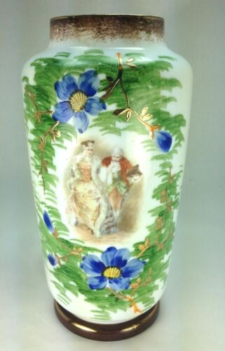 Antique Gilt and Floral Hand Painted Court Scene French Opaline Glass Vase