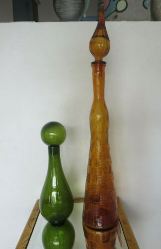 2 Colorful Vintage Glass Decanters