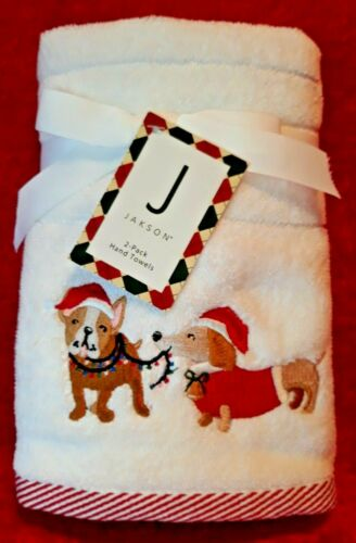 NEW Two 2 Pack Christmas Dog Embellised Embroidered Hand Towels Cloths Dachsund