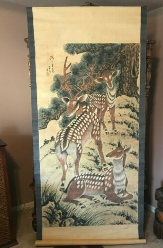 EX. LARGE VINTAGE ASIAN WALL SCROLL - HAND PAINTED ON RICE PAPER