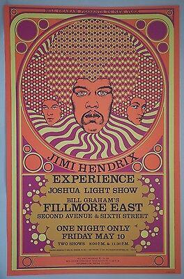 Vintage Jimi Hendrix Concert Poster 1968 Tour Original Bill Graham Fillmore