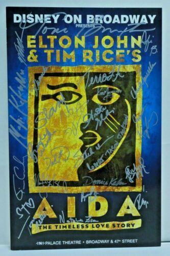 "Aida Cast Signed Broadway Window Card 14""x22"""