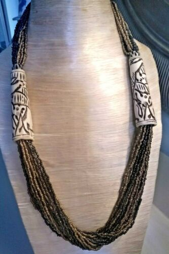 Rare African Hand Carved Horn Bronze & Chocolate Bead Necklace Elephant Design