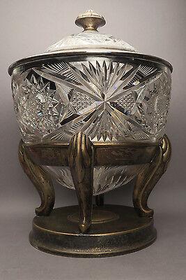 WMF Bowle Kristallglas mit Einsatz und Deckel um 1910