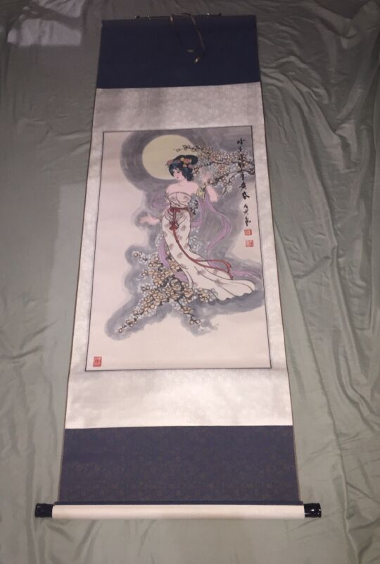 """LARGE VINTAGE CHINESE ORIGINAL WATERCOLOR SCROLL WOMAN PAINTING SIGNED - 68"""""""