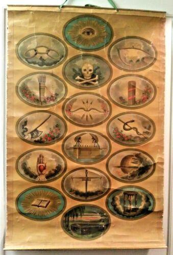 Antique IOOF Hoen & Co ODD FELLOWS SYMBOLS BANNER Linen Back Lithograph 38 x 28