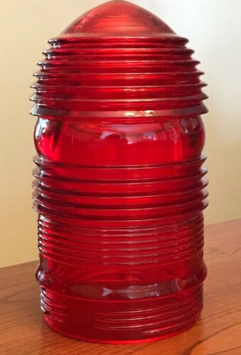 "Vintage Pyrex Red Fresnel Round Lens Glass Globe 7"" H x 3.75"" W"