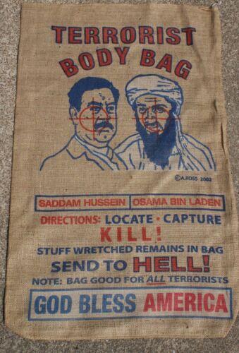 Burlap Terrorist Saddam & Osama Bin Laden Body Bag ManCave Patriotic Memorabilia