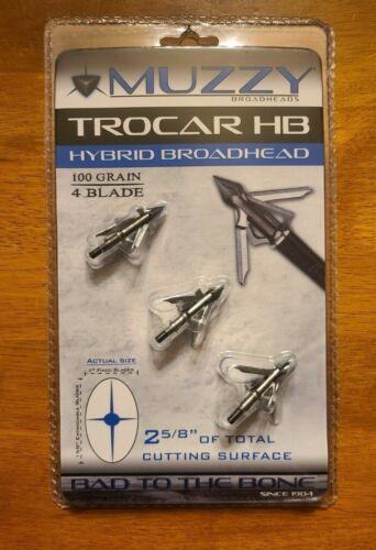 """Muzzy Trocar HB Hybrid Broadhead - 100 Grain 4 Blade 2 5/8"""" Cut Broadhead"""