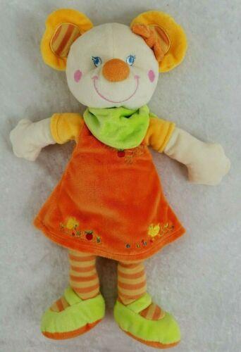 Doudou Souris orange jaune vert MOTS D