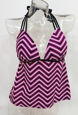 SO Pink Chevron Open Back Push Up Swim Tankini Top Juniors' XS,S,M,L #2108](Pink Chevron)