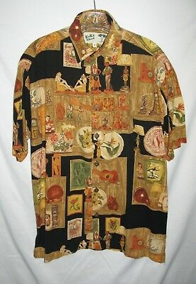 Aloha Shirt Island Decor - KoKo Island Gold Hula Girls Tiki Decor Hawaiian Aloha Short Sleeve Shirt, Medium
