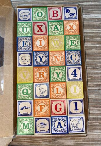 Uncle Goose~Spanish Wooden Blocks~32 ABC Blocks~Made in USA~Excellent