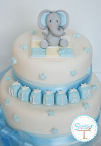 BOYS  EDIBLE ELEPHANT CAKE TOPPER DECORATION SET CHRISTENING BIRTHDAY TEDDY