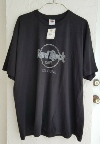 ** HARD ROCK CAFE ** Cologne Germany New with tags Black T Shirt Logo Size XL