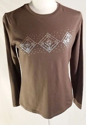 TALBOTS WOMAN'S FANCY TEE LONG SLEEVE CREW NECK  SILVER BEEDED DECORATION