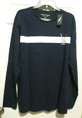 Nautica Men's Logo Graphic Long-Sleeve T-Shirt, Navy Blue,  XL NEW