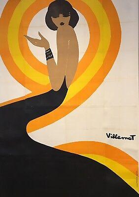 Original Vintage Poster Villemot Spirale Orange