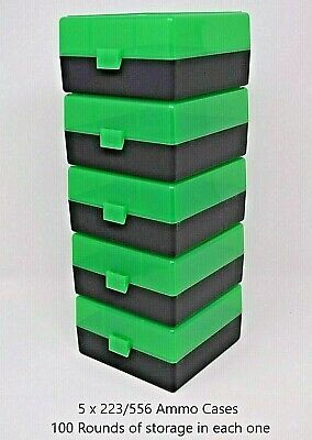 BERRY'S PLASTIC AMMO BOXES (5) GREEN-BLACK 100 ROUND 223 / 5.56 NEW ITEM - Berry Boxes