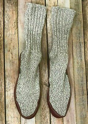 Acorn Slipper socks Beige Knit Brown Leather Comfort  M 9-10  W 10.5-11.5