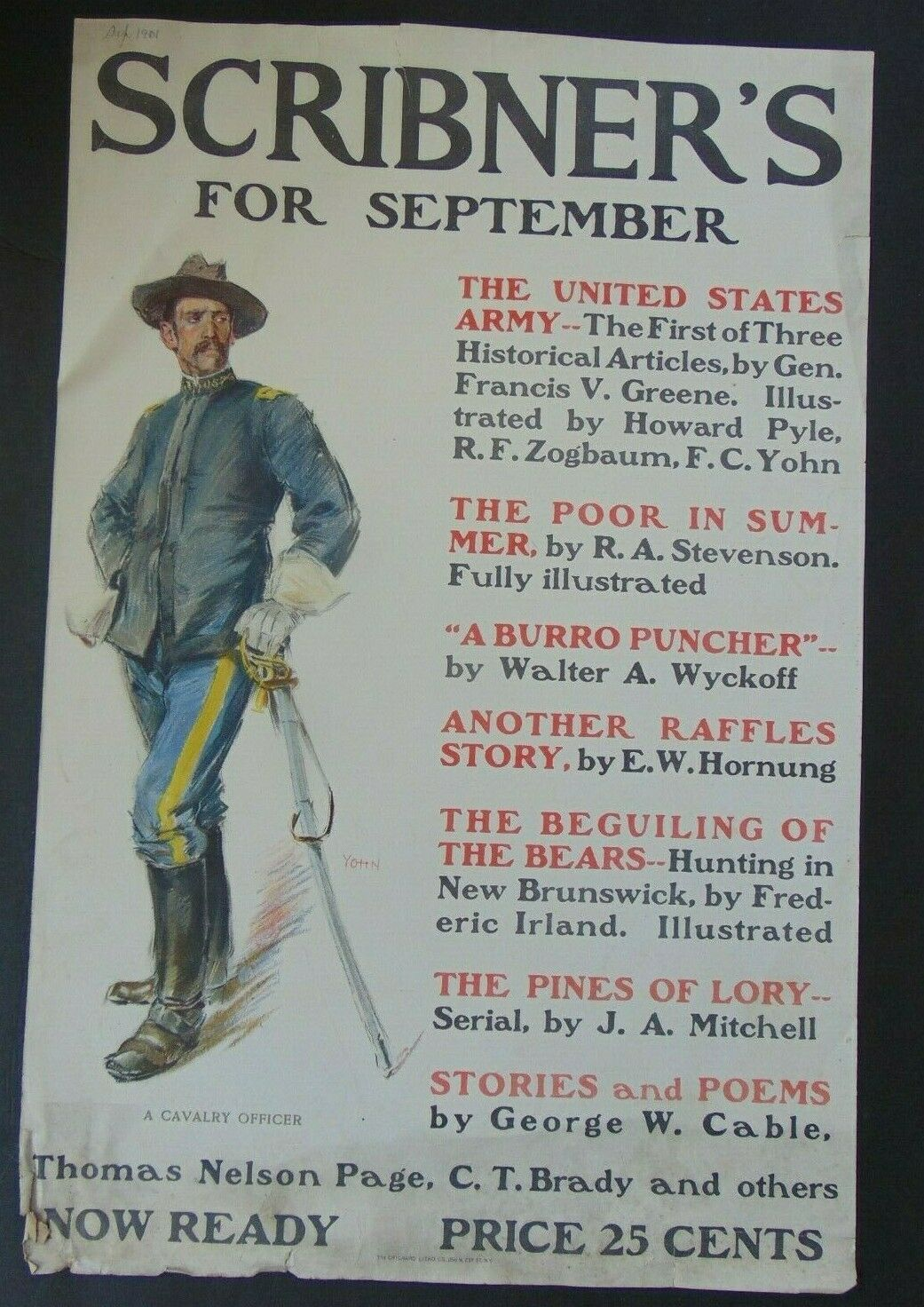 C.1901 - CAVALRY OFFICER - SCRIBNERS FOR SEPTEMBER - LARGE POSTER - $11.50