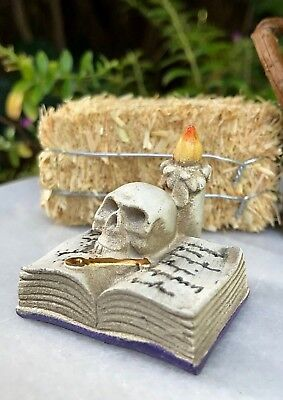 Miniature Dollhouse FAIRY GARDEN ~ Mini HALLOWEEN Open Book w Skull Candle & Key (Halloween Fairy Garden)